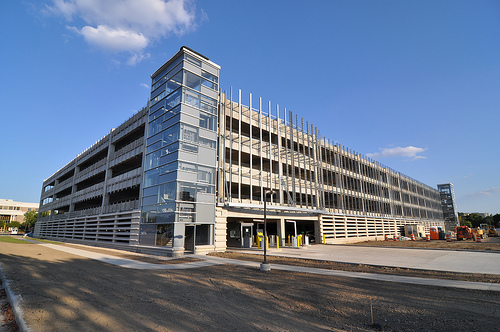 California Street parking garage @ IUPUI nears completion