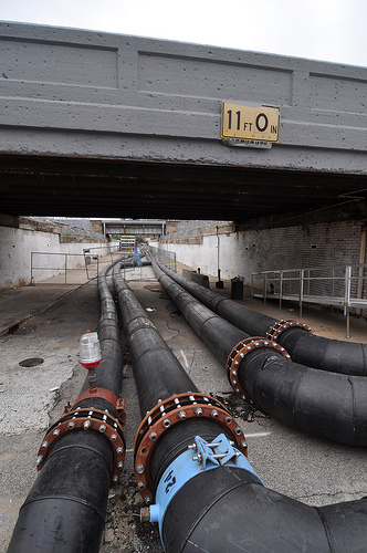 Pipes under CSX Overpass @ Merrill &amp; Delaware Streets