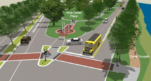 Complete Streets: Rendering looking south from Meridian &amp; Westfield 