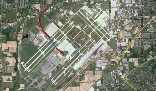 Possible LRT Routing to IND airport (tunnel in blue)