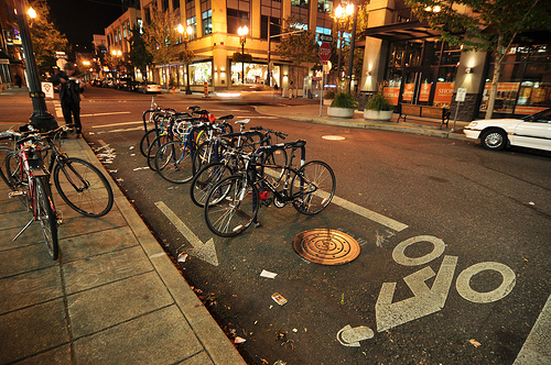 Bike Parking in the Pearl District at Night