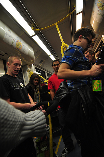 Young & old Pack the Portland MAX train after dark