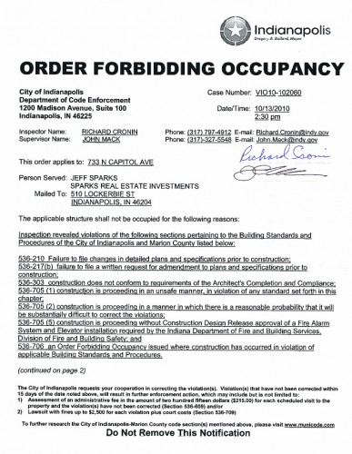 Order Forbidding Occupancy