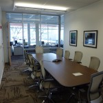Conference rooms are in the middle with windows on both sides