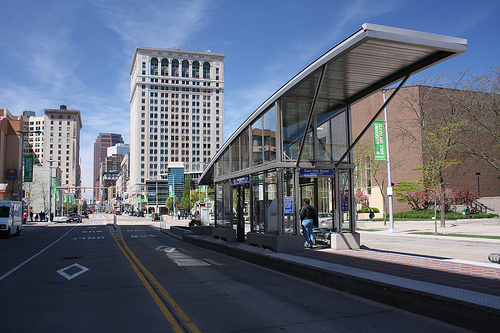A station on Cleveland's Healthline BRT