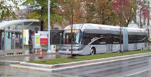 A bus stopped on the Healthline (Cleveland) photo via Wikipedia
