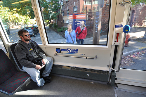 Yours truly sitting near the handicap section of the streetcar