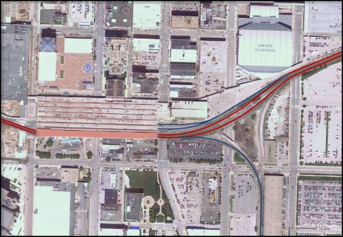 Red Lines: CSX, Blue Lines: Proposed Commuter Rail (SB line - L&I RR)