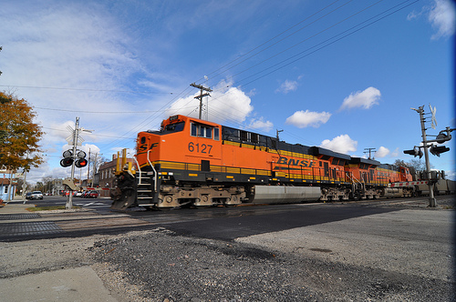 A BNSF freight train that uses the Porter corridor