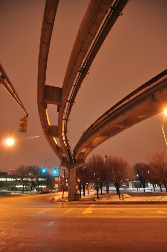 View under the tracks at 16th Street crossing