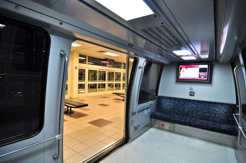 Interior of a car on the Clarian People Mover