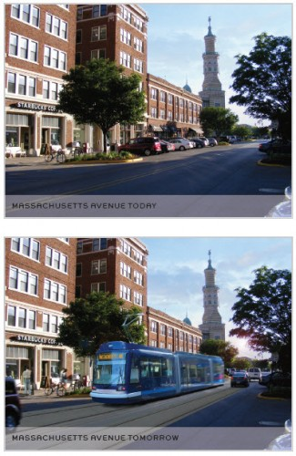 Streetcar on Mass Ave (image source: MPO study)