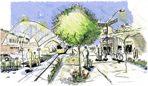 A vision of revitalization w/ Transit (image source: Smart Growth Indy)