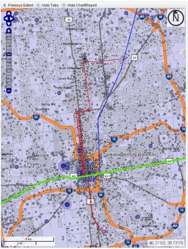 2008 Indianapolis Jobs (Possible LRT and commuter routes shown)