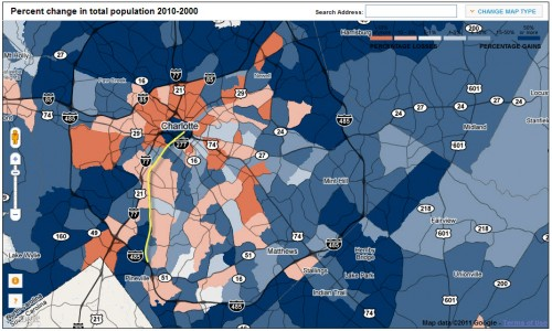 Charlotte 2010 Census gains/loses; transit line in yellow (click to enlarge)