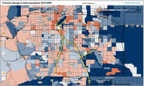 Denver 2010 Census gains/loses; transit line in yellow (click to enlarge)