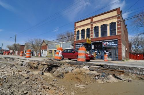 Fountain Square Cultural Trail Work, April 2011 (note streetcar tracks)