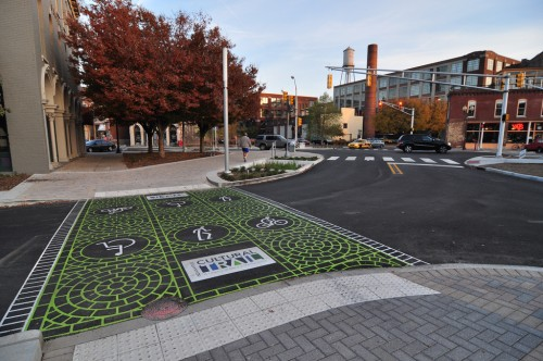 Indy's Nicest Sidewalk, The Cultural Trail on Mass Ave (image credit: Curt Ailes)