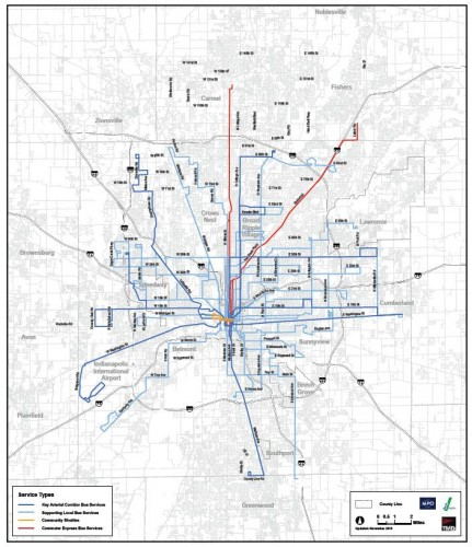Short Term Proposed IndyGo route changes (image credit: 2010 IndyGo COA)