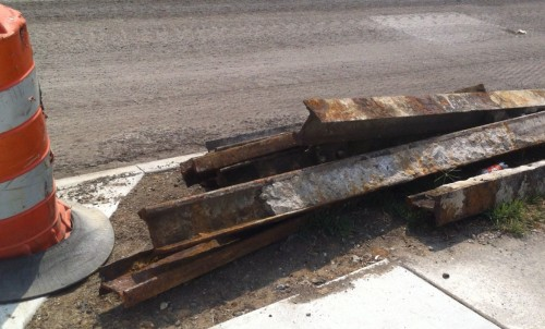A pile of old streetcar tracks unearthed from Shelby Street (image credit: reader submission)