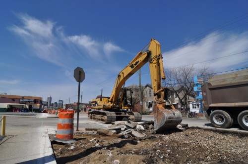 Construction on Virgina Ave in Fountain Square (image credit: Curt Ailes)