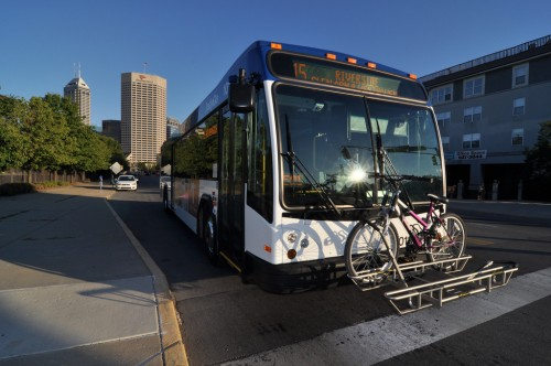 IndyGo bus on Indiana Ave (image credit: Curt Ailes)