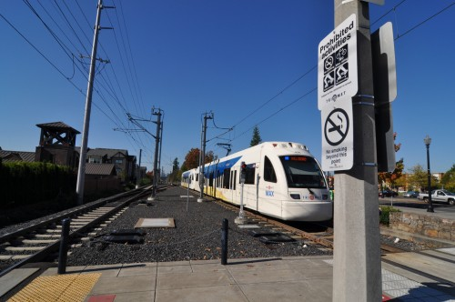 Suburban lightrail station in Portland, OR (image credit: Curt Ailes)