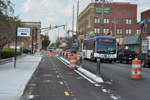 Shelby Street Bike Track nearing completion (image credit: Curt Ailes)