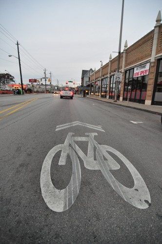 Sharrow on Broad Ripple Ave in the Village (image credit: Curt Ailes)