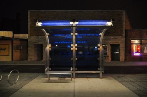 Fountain Square Bus Shelter on Cultural Trail (image credit: Curt Ailes)