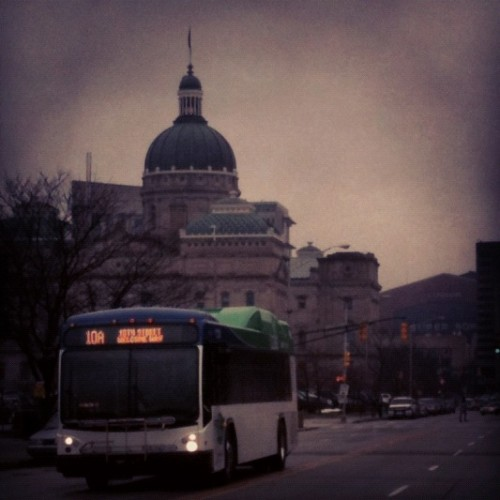 IndyGo bus passing the Statehouse (image credit: Curt Ailes)