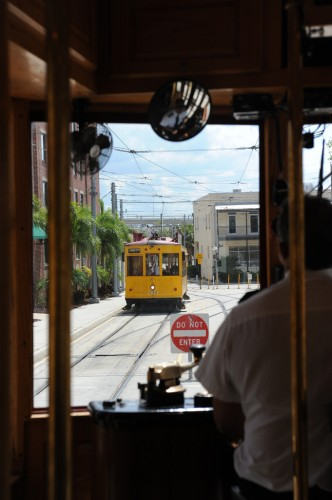 Streetcar operator waiting on another car to pass (image credit: Curt Ailes)