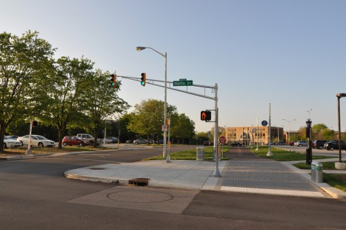 Cultural Trail at IUPUI, note traffic signal is green, pedestrian is not (image credit: Curt Ailes)