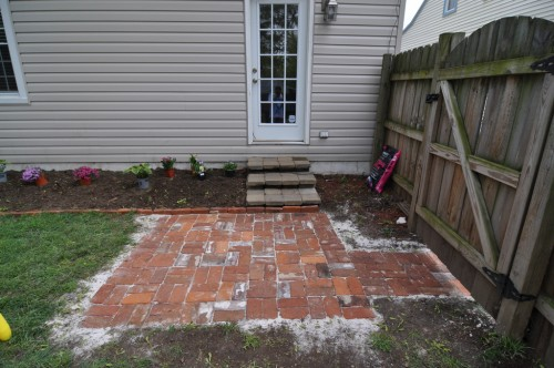 Bricks all laid and sand poured in gaps (image credit: Curt Ailes)