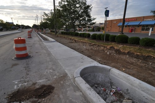62nd St Trail Progress, note IndyGo stop (image credit: Curt Ailes)