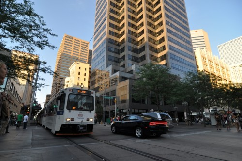 Denver - Light Rail crossing the Mall (image credit: Curt Ailes)