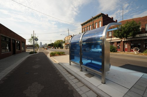 Cultural Trail Bus Shelter in Fountain Square (image credit: Curt Ailes)
