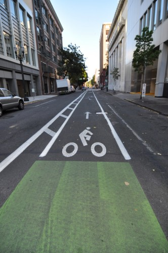 Double Striped Bike Lane in Portland, OR (image credit: Curt Ailes)