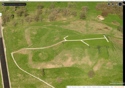 Monks Mound in Cahokia (image:  Bing Maps)