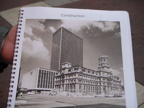 This book provided by the docent shows that the old Courthouse was still standing while the CCB was under construction.  Demolition followed shortly thereafter.