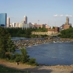 Downtown from the West Bank of White River (image:  Art Malito)