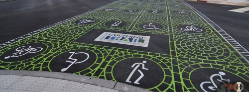 Cultural Trail Iconography Pressed into Crosswalk (image:  Curt Ailes)