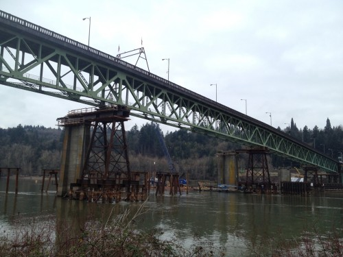 The existing 2-lane bridge is being moved to allow construction of a new bridge (image H. Simmons)