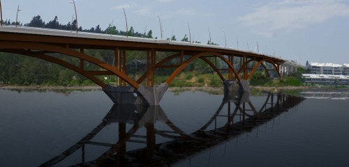 Rendering of steel arch bridge that will replace the existing multispan truss (image:  Multnomah County)