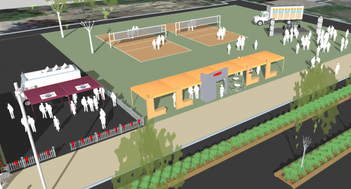 Storefronts, Beer Tent, Volleyball, Stage