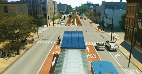 """Island"" Station Concept (image credit: Chicago Transit Authority)"