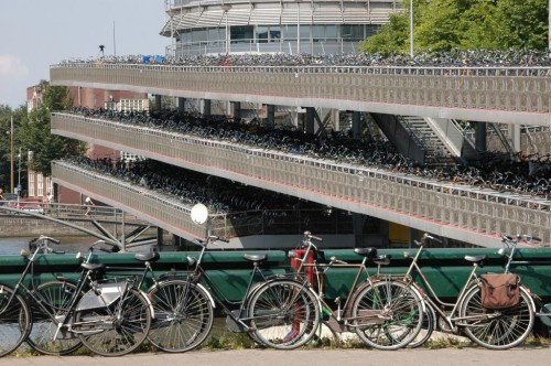 Option #2: Help people build a better city with bicycle parking, as in Amsterdam (image credit: Airbete/Wikimedia)
