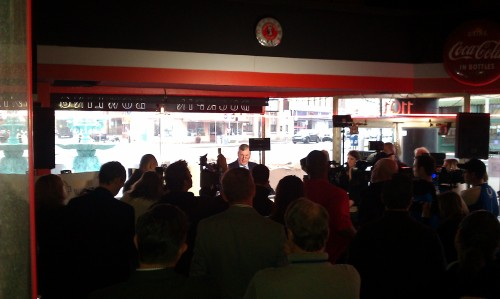 Press Conference at Smoke House on Shelby inside the Fountain Square Theatre Building.