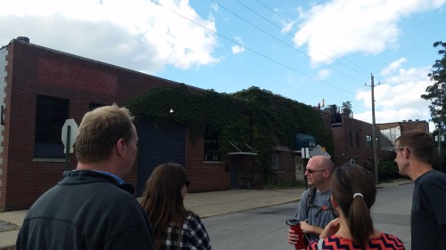 Yours truly and some attendees in front of Outliers Brewery